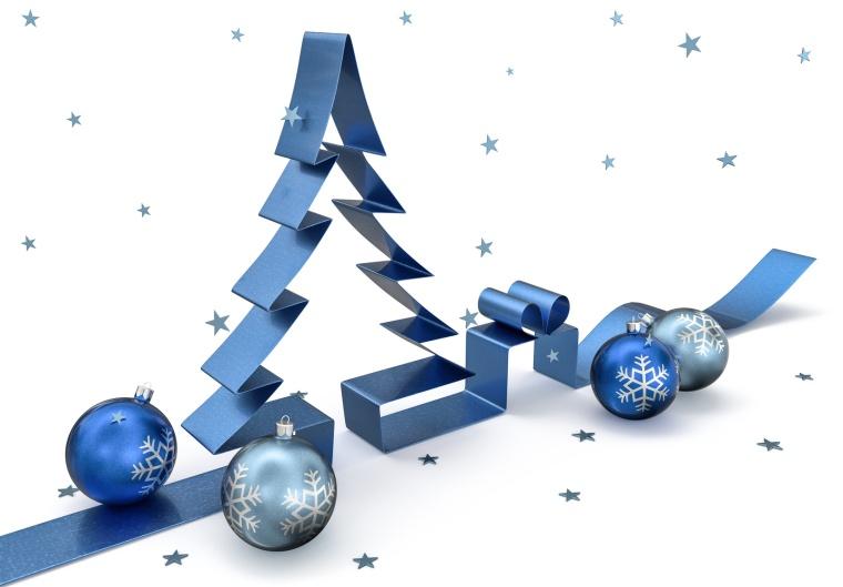 3d Schleife Weihnachtsbaum mit Kugeln, Geschenk und Schneeflocken