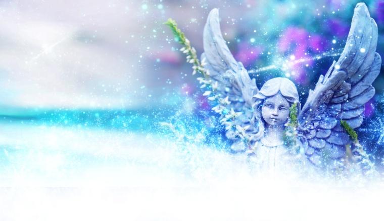 Engel im Licht mit Schneesternen