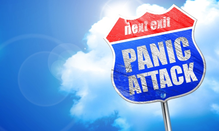 panic attack, 3D rendering, blue street sign